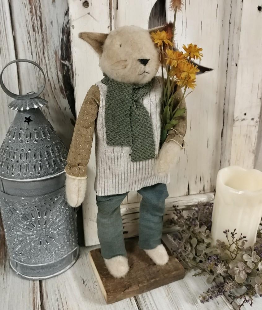 Repurposed Home Decor: Handmade Repurposed Autumn Kitty Cat Home Decor Accent