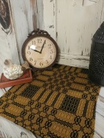 Westbury Woven Primitive Colonial  Mustard & Black Long Table Runner
