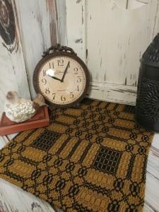 Westbury Woven Primitive Colonial  Mustard & Black Long Table Runner