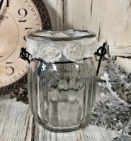 Farmhouse Glass Jar Votive or Pillar Candle Holder /Lantern