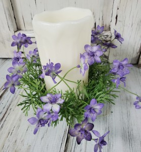 Wispy Purple Flower Pillar Floral Candle Ring