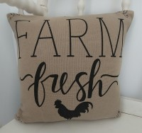 Cotton Burlap Farm Fresh Rooster Farmhouse Accent Pillow Cover