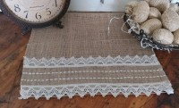 Farmhouse Country Cottage Lace & Burlap Table Runner