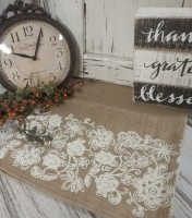 Country Cottage / Shabby Floral Burlap Table Runner