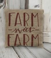 Burgandy Sweet Farm Burlap Home Accent Pillow