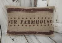 Our Farmhouse Burlap Home Decor Accent Pillow