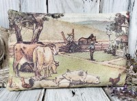 Vintage Farm Scene Farmhouse Home Accent Pillow