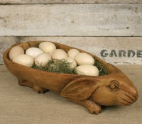 Vintage Inspired Treen Rabbit Bowl ~ Rustic Cottage Farmhouse Home Decor