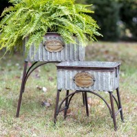 Set of 2 Rustic Metal Tubs with Stands