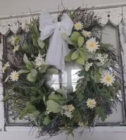Daisy Lavender & Greenery Floral Wreath - Cottage Farmhouse Decor