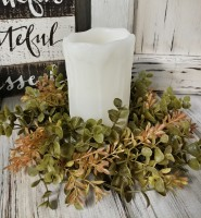 Eucalyptus and Boxwood Greenery Floral Pillar Candle Ring - Home Decor Accent