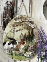Vintage Inspired Bunny Rabbit Print Sign - Easter Spring Wall Home Decor