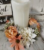 White & Peach Floral Pillar Candle Ring