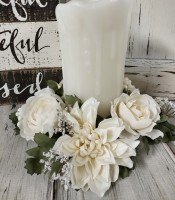 White Floral Pillar Candle Ring - Home Decor Accent