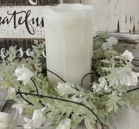 White Lobelia Large Pillar Candle Ring - Farmhouse Cottage Style