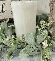 Mixed Lambs Ear Floral Pillar Candle Ring