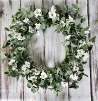 Summer Springsong Cream Floral and Greenery Wreath - Farmhouse Cottage style