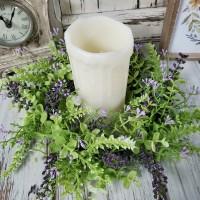 Eucalyptus Lavender Berry Pillar Large Flower Ring - Farmhouse Small Wreath