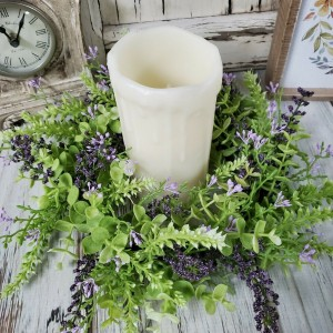 Eucalyptus Lavender Berry Pillar Large Flower Ring - Farmhouse Small Wreath