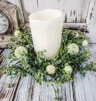 Cream Flower and Greenery Farmhouse Candle Ring