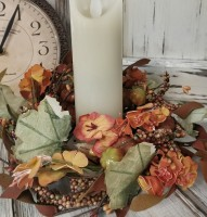 Autumn / Fall Rustic Floral Pillar Candle Ring