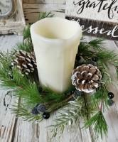 Frosty Blueberry Fir Winter Pillar Candle Ring