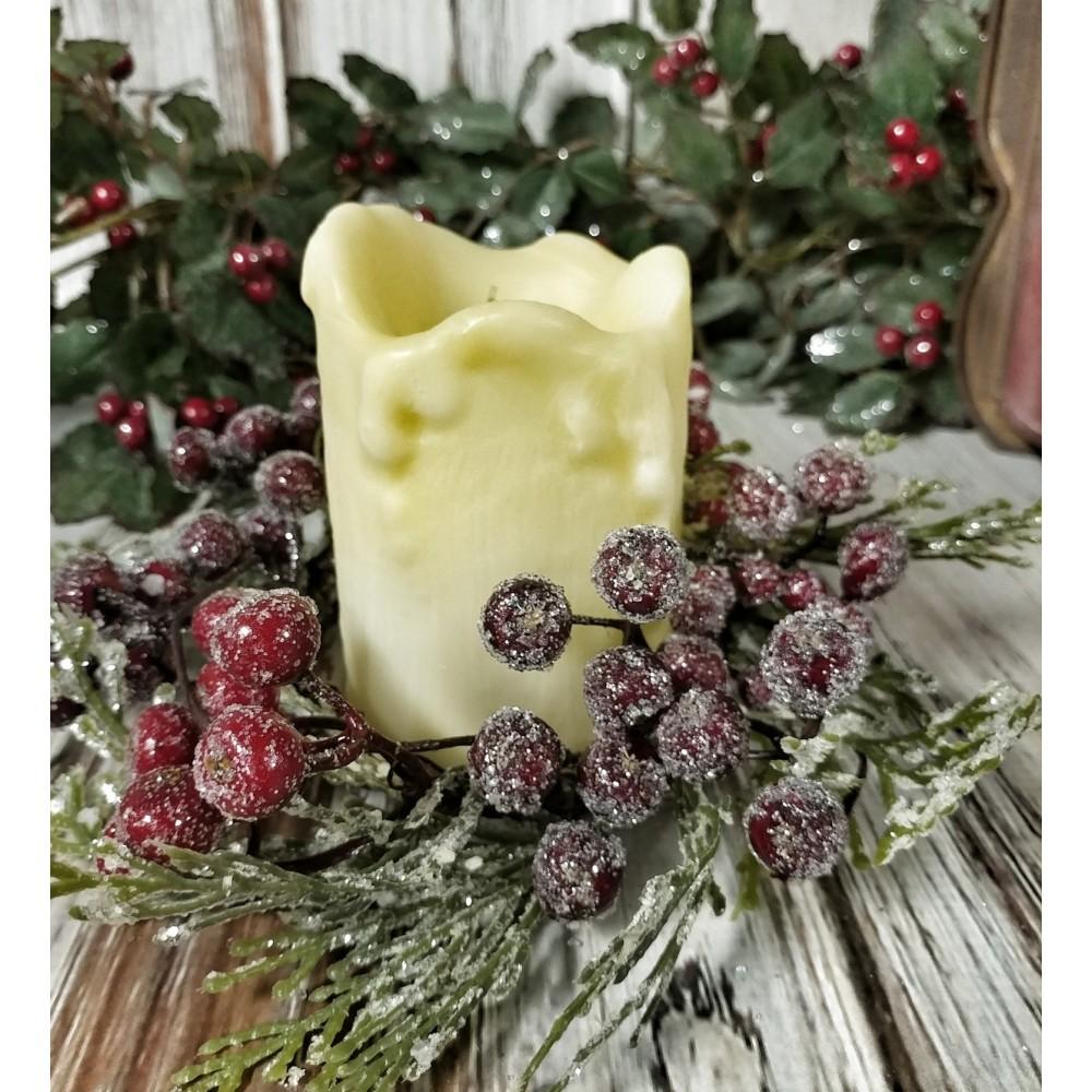 Icy Berry Amp Cedar Pillar Christmas Winter Candle Ring