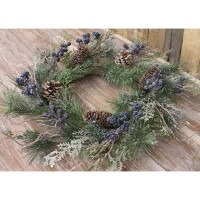 Blueberry Cluster and Evergreen Winter Pillar Candle Ring