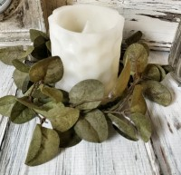 Penny Leaf Green Pillar Candle Ring - Floral Farmhouse Home Decor