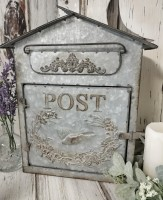 Galvanized Metal Bird Decorative Post Box - Farmhouse Home Decor