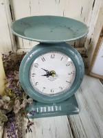 Rustic Blue Scale Clock - Vintage Farmhouse Inspired Home Decor