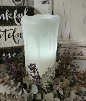 "7"" White Drip Flameless Timer Pillar Candle - Farmhouse Cottage Home Decor"