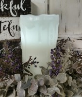 "6"" White Drip Flameless Timer Pillar Candle - Farmhouse Cottage Home Decor"