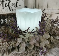 "4"" White Drip Flameless Timer Pillar Candle - Farmhouse Cottage Home Decor"