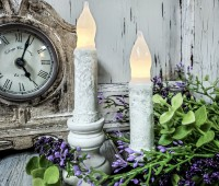 "Rustic White 4"" Flameless Timer Taper Candles"