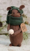 Primitive Country Winter Mouse Rustic Home Decor Figure