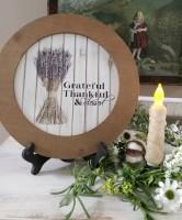 Farmhouse Cottage Grateful Lavender Round Sign