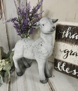 Rustic Farmhouse Standing White Lamb / Sheep Figure