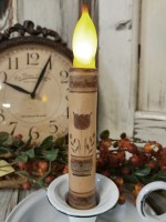 Earthy Folk Art Flower Battery Flameless Timer Taper Candle.