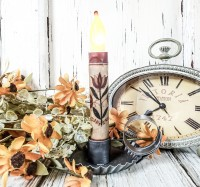 Red Folk Flower Timer Taper Candle