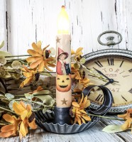 Vintage Inspired Little Witch & Pumpkin Halloween Timer Taper Candle