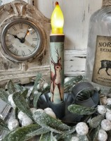 Vintage Inspired Winter Deer Handmande Timer Taper Candle