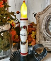 "Shiplap ""Gather"" Thanksgiving Flameless Timer Taper Candle"