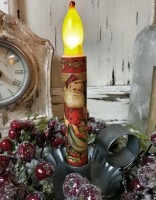 Santa with Toys Handmade Christmas Timer Taper Candle