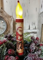 Vintage Inspired Santa & Toys Christmas Handmade Timer Taper Candle