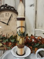 Handmade Harvest Pumpkin and Sunflower Autumn Timer Taper Candle.