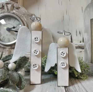 Set of 2 Wood Angel Shelf Sitters