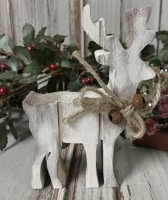 Distressed Reindeer Decorative Christmas / Winter Wooden Farmhouse Decor