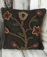 Primitive Hooked Wool Brown Floral Stargazer Pillow