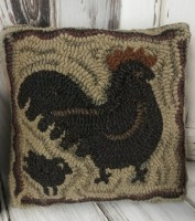 Primitive Farmhouse Hooked Wool Hen and Chick Pillow